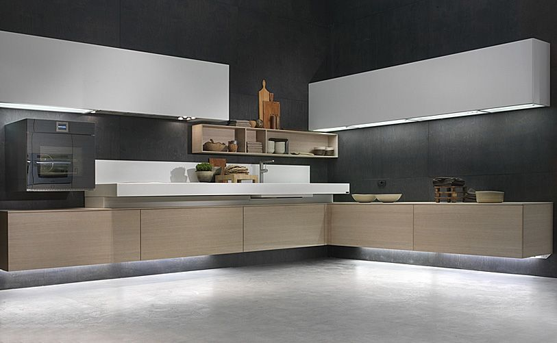 Brilliant use of lights and very effective, Love this kitchen design ...