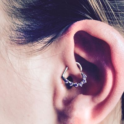 16 Gauge Purple Cz Heart Left Closure Daith Cartilage Tragus Earring Body Candy Jewelry