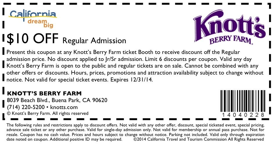 picture regarding Knotts Berry Farm Printable Coupons named Pin by way of Brandi Moden upon Holidays Go to california, Senior