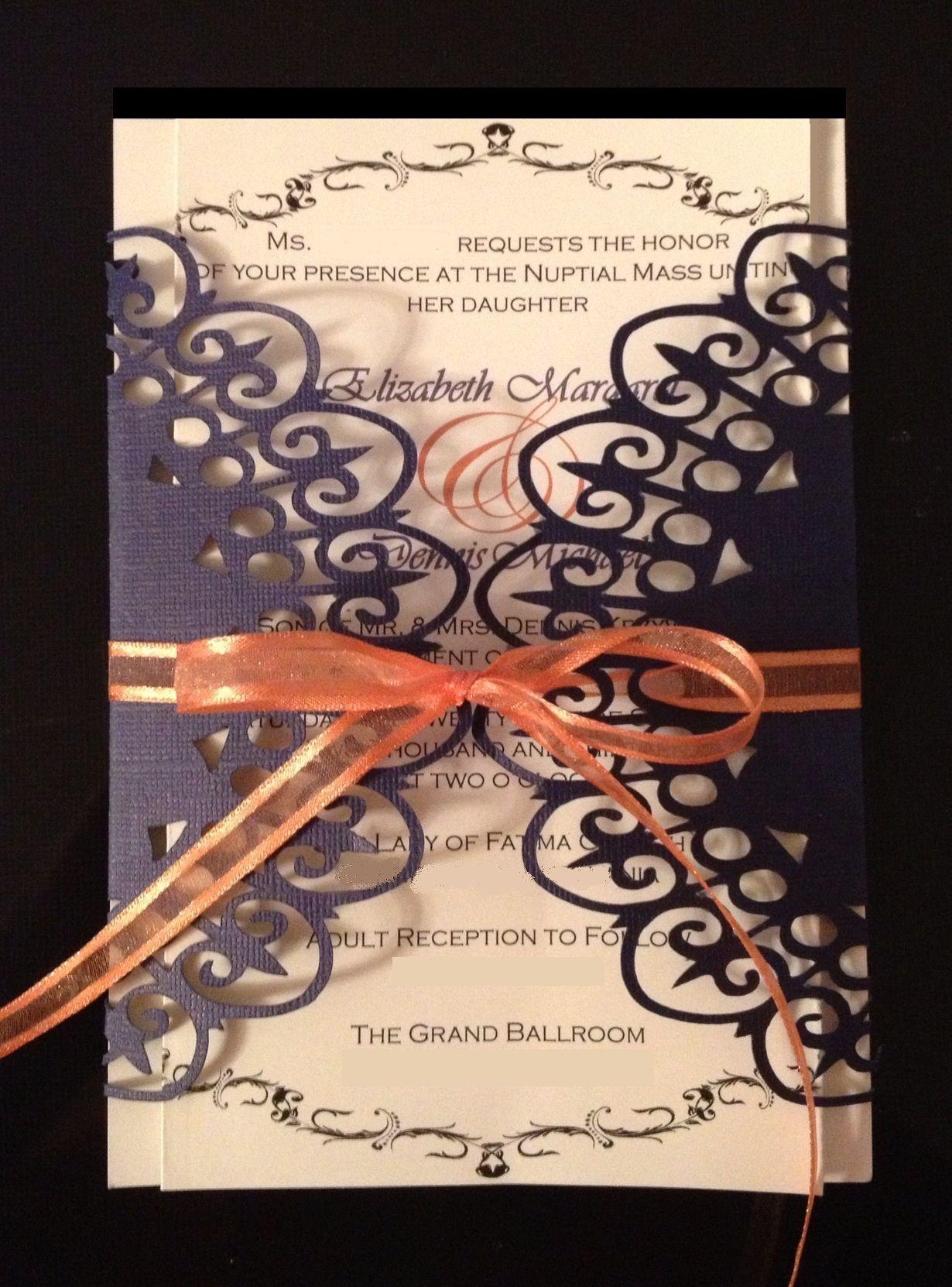 Wedding invitation lace wrap invitation purple and for How to make wedding invitations on cricut explore