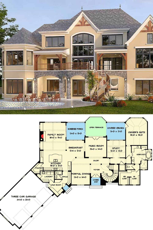 Two Story 5 Bedroom Tudor Mansion Floor Plan Mansion Floor Plan Model House Plan House Front Design
