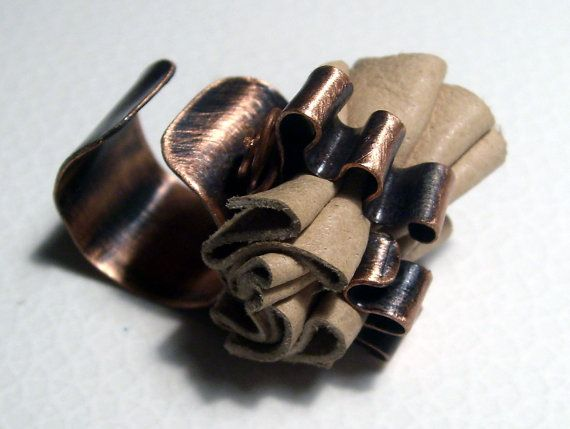 Genuine beige leather ring upcycled leather dark by BaccaraJewelry, $38.00
