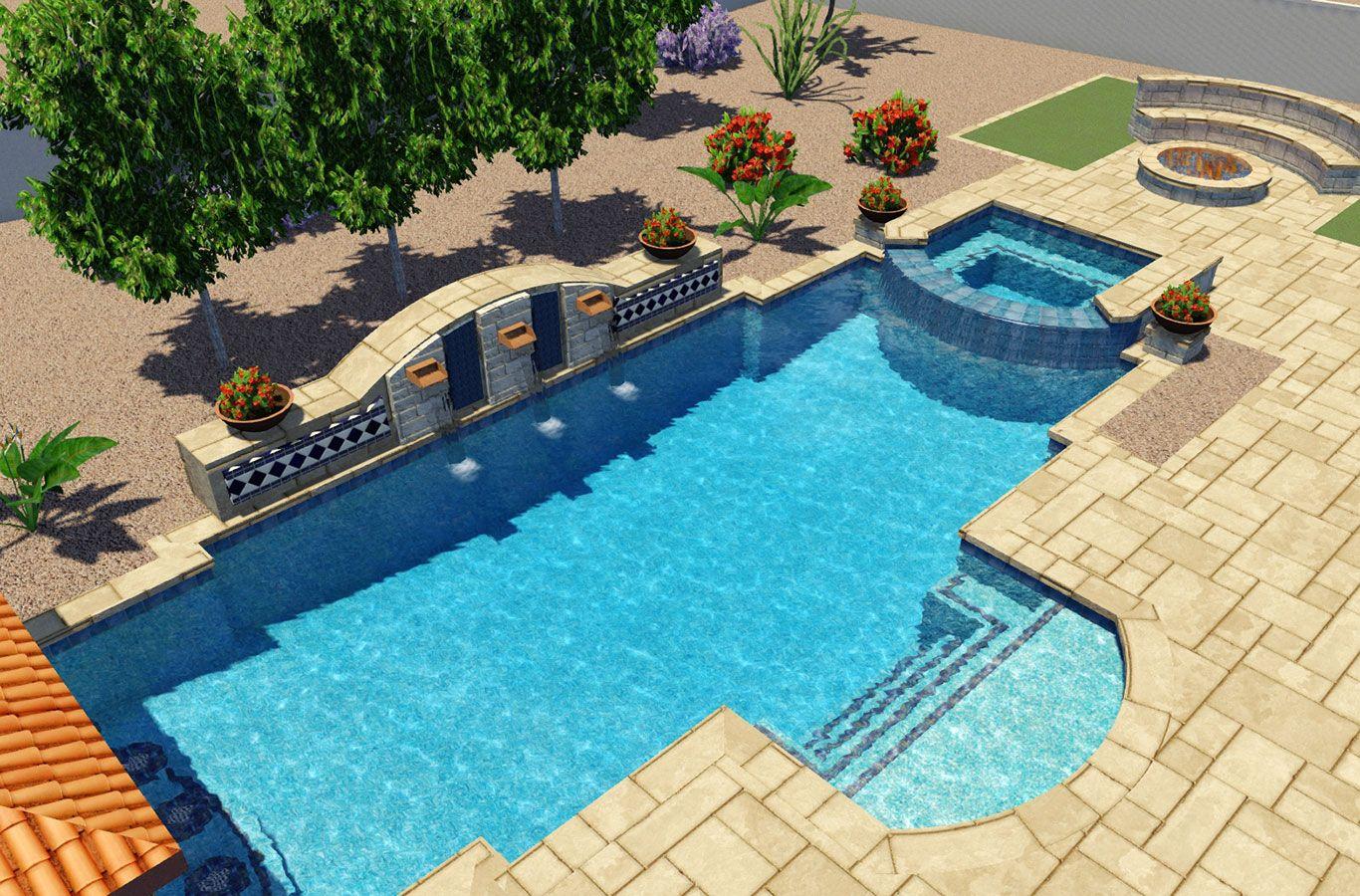 Rondo Pools 3d Design Pool Designs Geometric Pool Backyard Resort