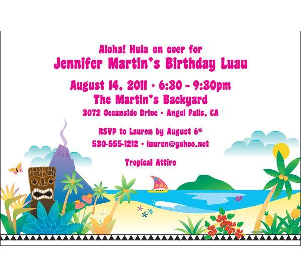 Luau Beach Party Invitation
