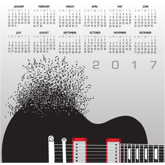 free vector 2017 Music Calendar With Notes http\/\/wwwcgvector - agenda download free