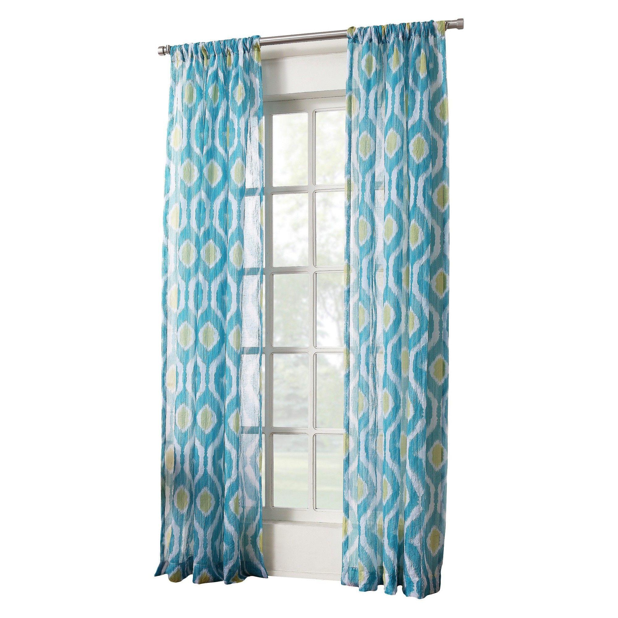Winslow Ikat Print Crushed Sheer Voile Rod Pocket Curtain Panel