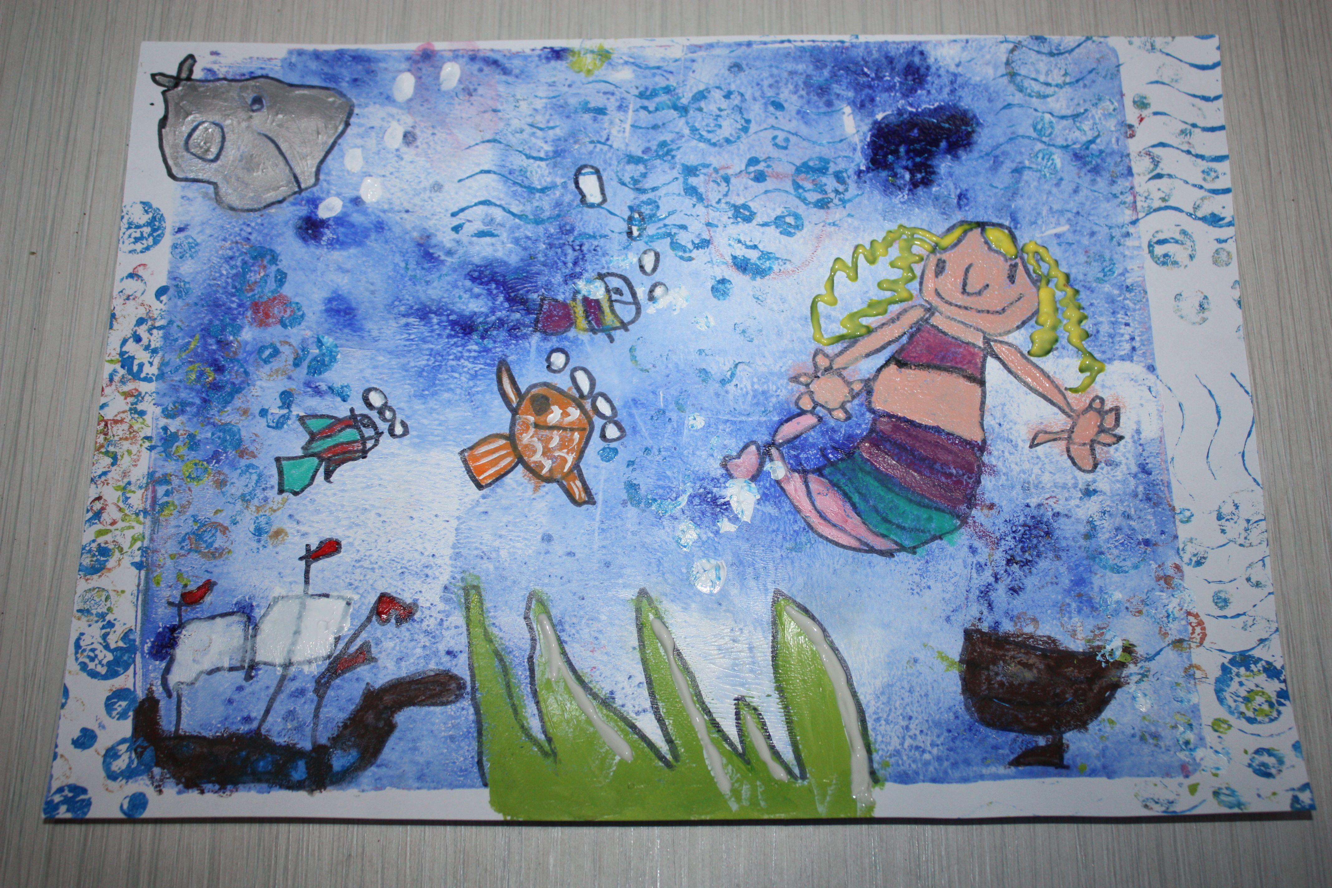 Bricolage avec mon fils, 5 ans. Fond à la gelli plate. Dessins en peinture acrylique.