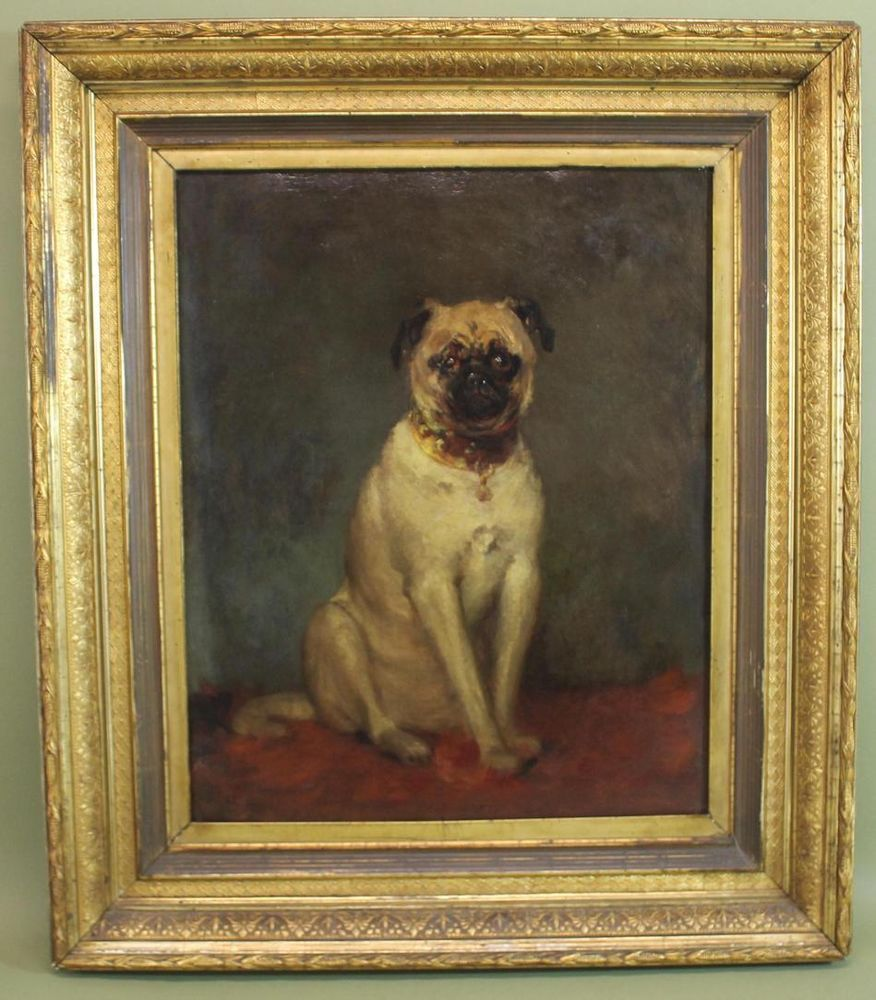 Antique 19thc American Portrait Oil Painting Of Pug Dog W