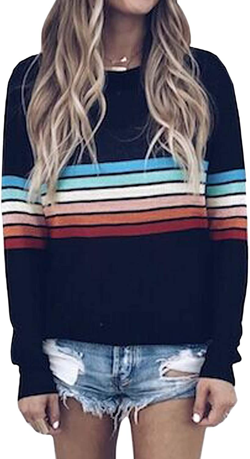 Women's Sweater Rainbow Colorful Striped Sweaters in 2020