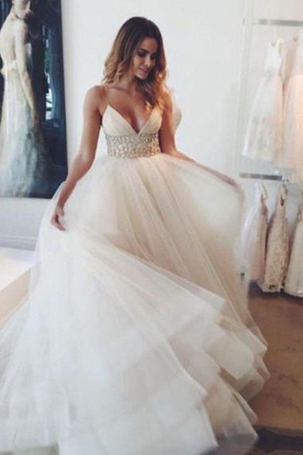 417b16eb32 Hot V-neck Sweep Train Spaghetti Straps Ivory Tulle Wedding Dress With Lace  TN0043