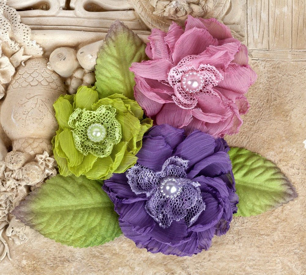 """NEW: """"Paquita"""" Meadow 566432 Purple/ Dusty Rose/ Lime Green Chiffon lace fabric flowers with Green leaves by Hennytj on Etsy https://www.etsy.com/listing/88552283/new-paquita-meadow-566432-purple-dusty"""