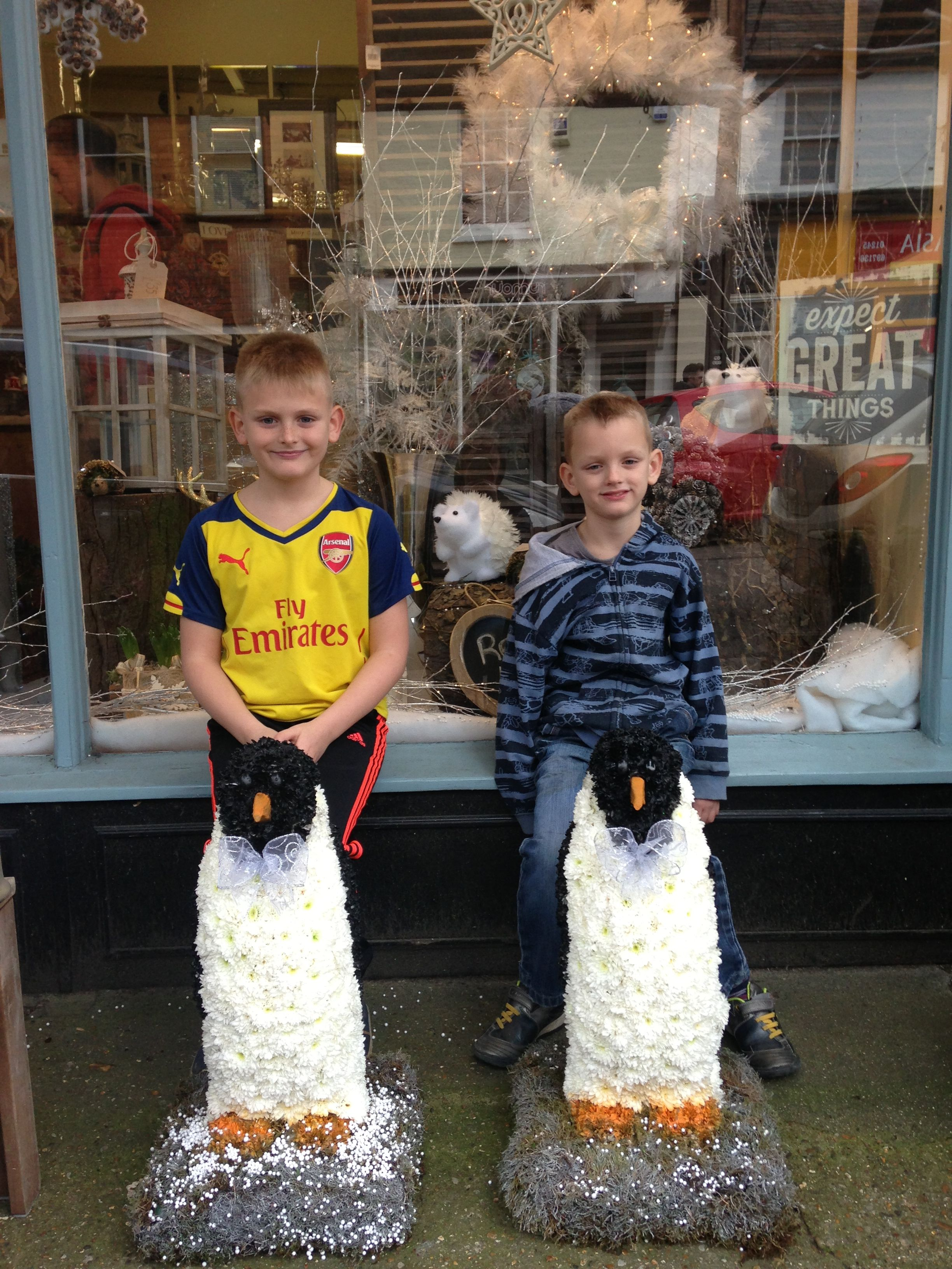 The new owners of our floral penguins. Winners of our Facebook competition that had over 40,000 hits:)