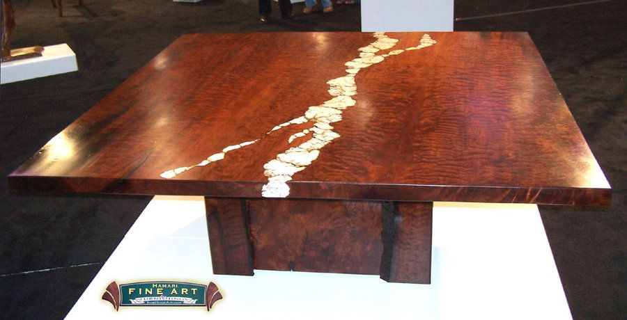 Live Edge Table Stone Inlay   Google Search