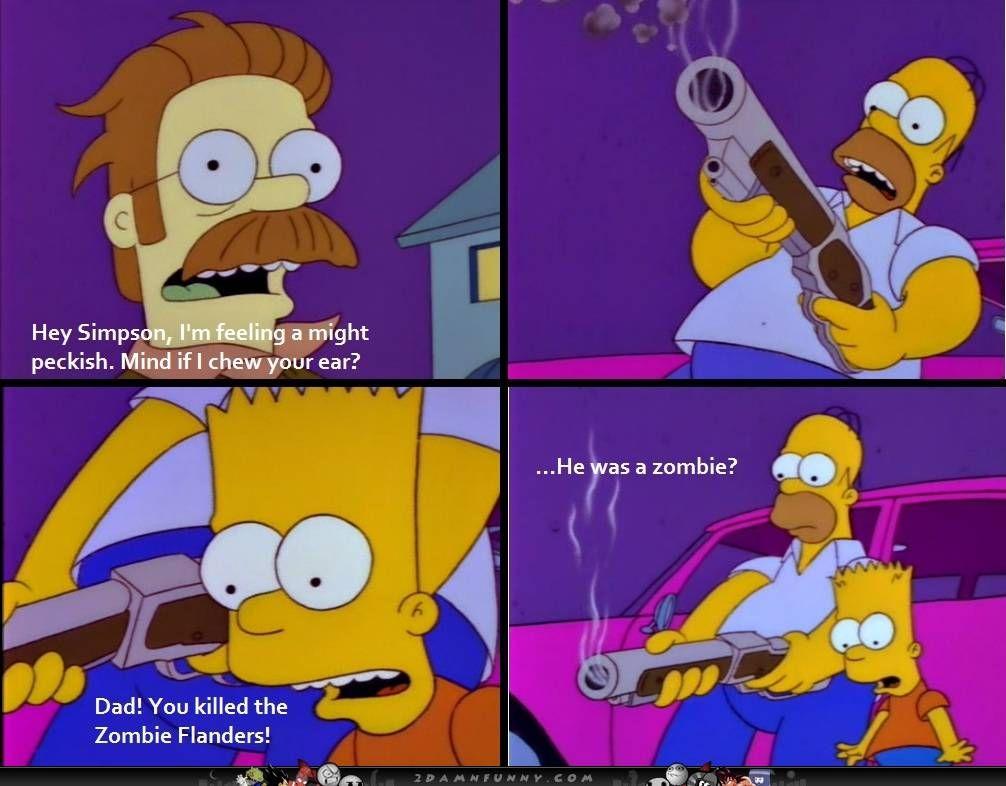 Homer kills zombie Ned flanders