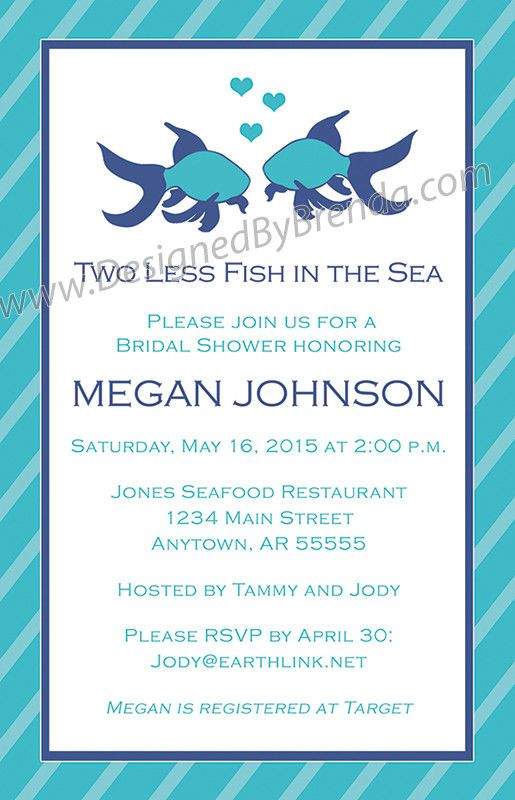 67cebf6c7c06 Large Bridal Shower Invitation - Two Less Fish in the Sea - Coral   Teal  with Beta Fish