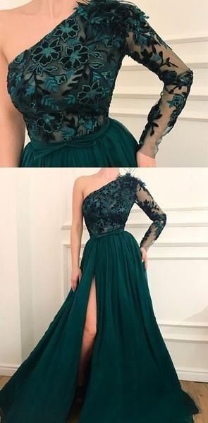 One Shoulder Appliques Side Split Modest Prom Dresses, Elegant Eevening Dresses,PD1017