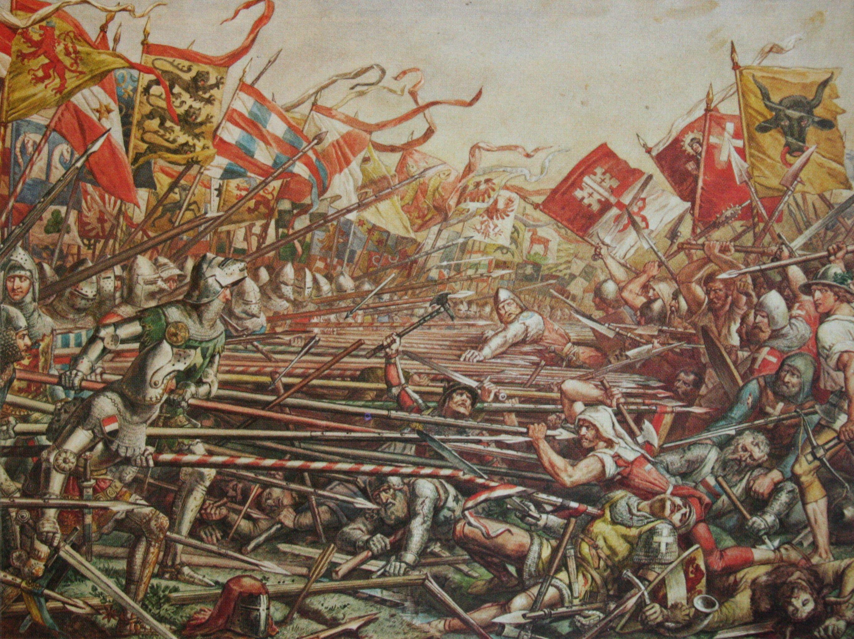 The swiss attack the austrian pikemen, Battle of Sempach