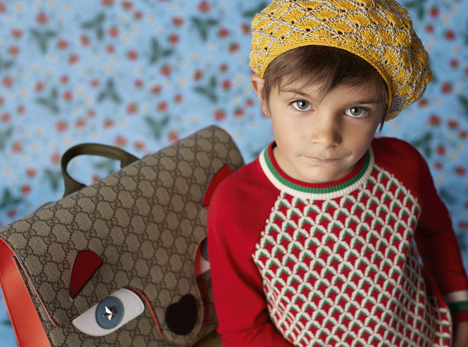 gucci kids. accessories from the new gucci children\u0027s cruise collection: a yellow hand crocheted pineapple hat and kids