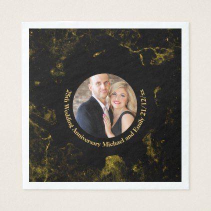 PHOTO Wedding Anniversary Black Gold Marble Paper Napkin - anniversary cyo diy gift idea presents party celebration