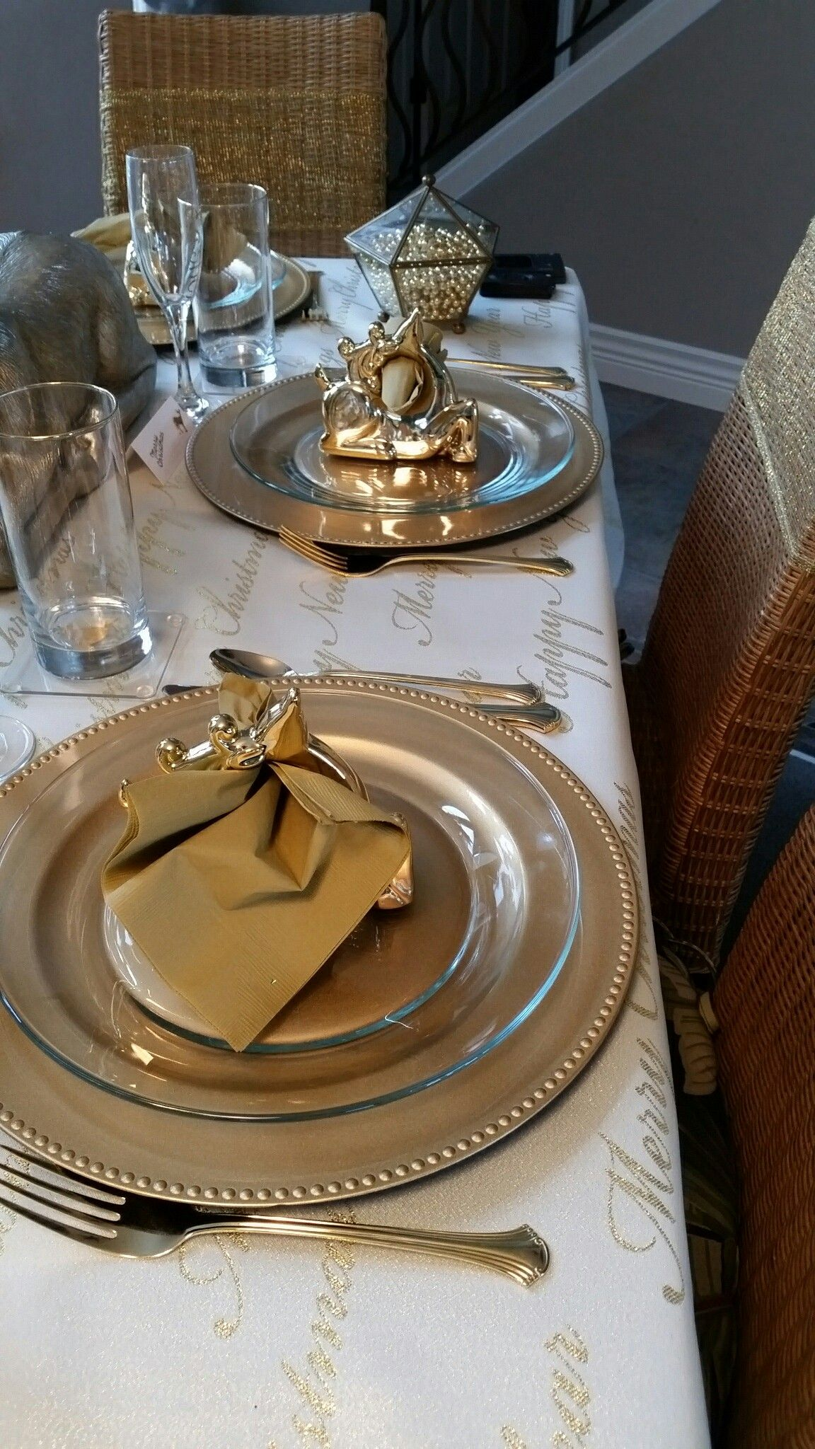 Table Setting Gold Reindeer Christmas Reindeer Napkin Holders Dollar Tree 2016 Reindeer Napkins Reindeer Decorations Gold Reindeer