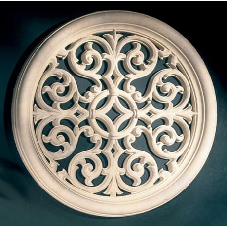 "Resin Wall Art victorian round grille 32"" wide wall art 