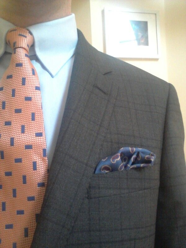 Charcoal Check Suit With Blue Tab Collar Shirt And Orange And Blue