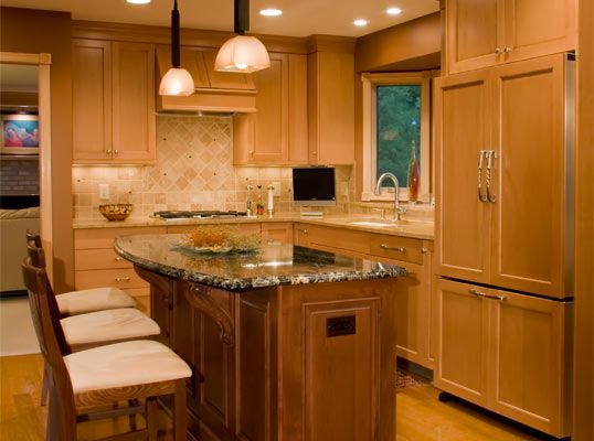 Kitchen Remodel Ideas Oak Cabinets not sure what i think about three different surfaces (island