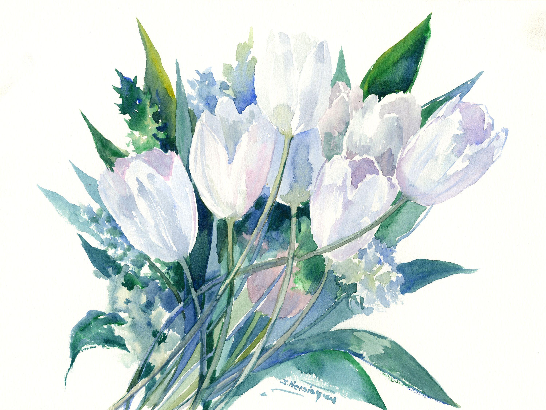 White Flowerstulip Flowers Tulips Art Tulips Painting Original