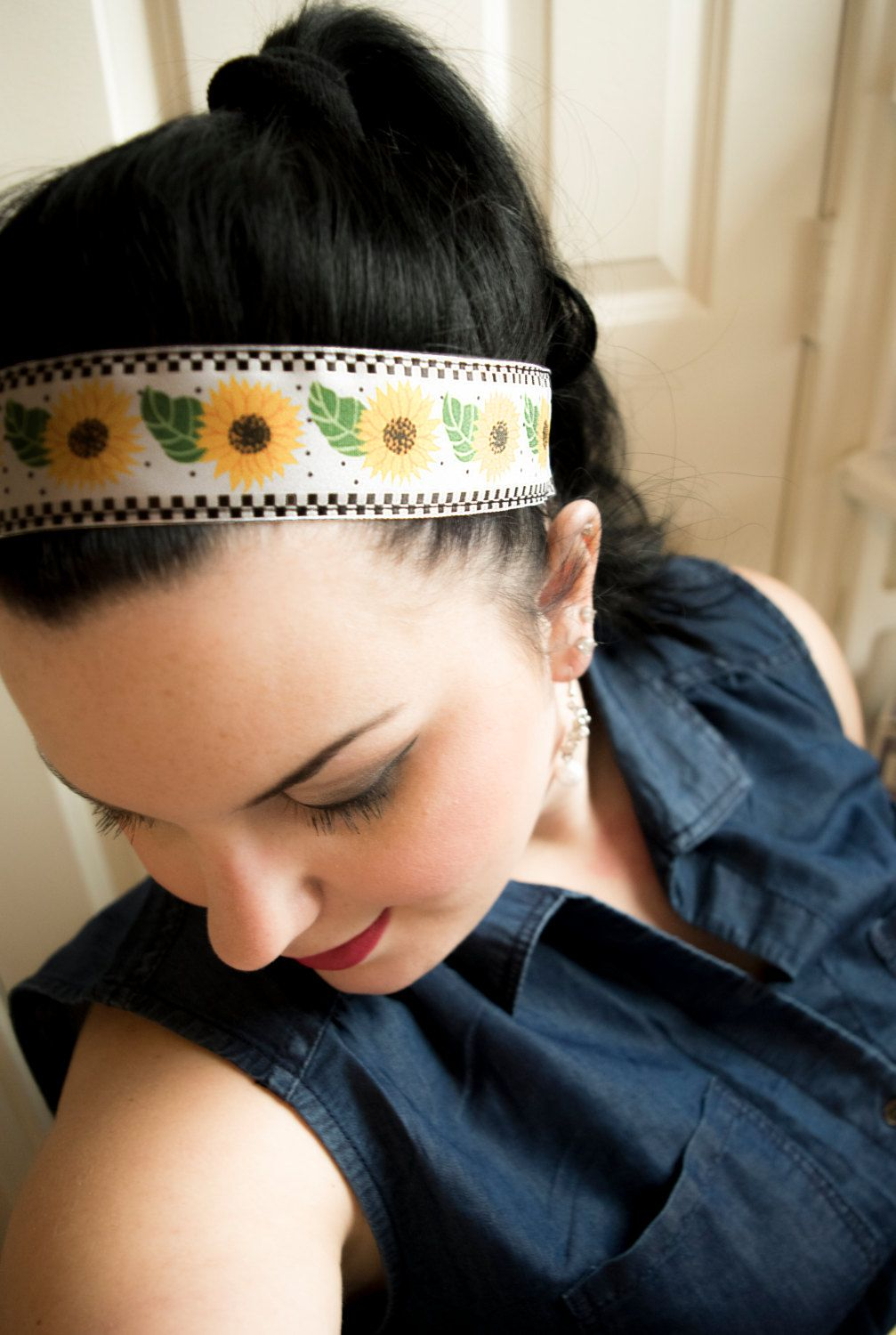 Checkerboard Sunflower- Sunflower print with Checkerboard Border Non-Slip  Headband Hair Accessory by SwankyBands on Etsy  spring  sunflowers  headband   hair ... 7cf90c7ba6f