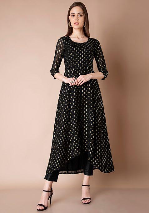 0f54073d9a3 High Low Anarkali Tunic - Black Foil #Fashion #FabAlley #Tunic  #DiwaliCollection #DiwaliShopping