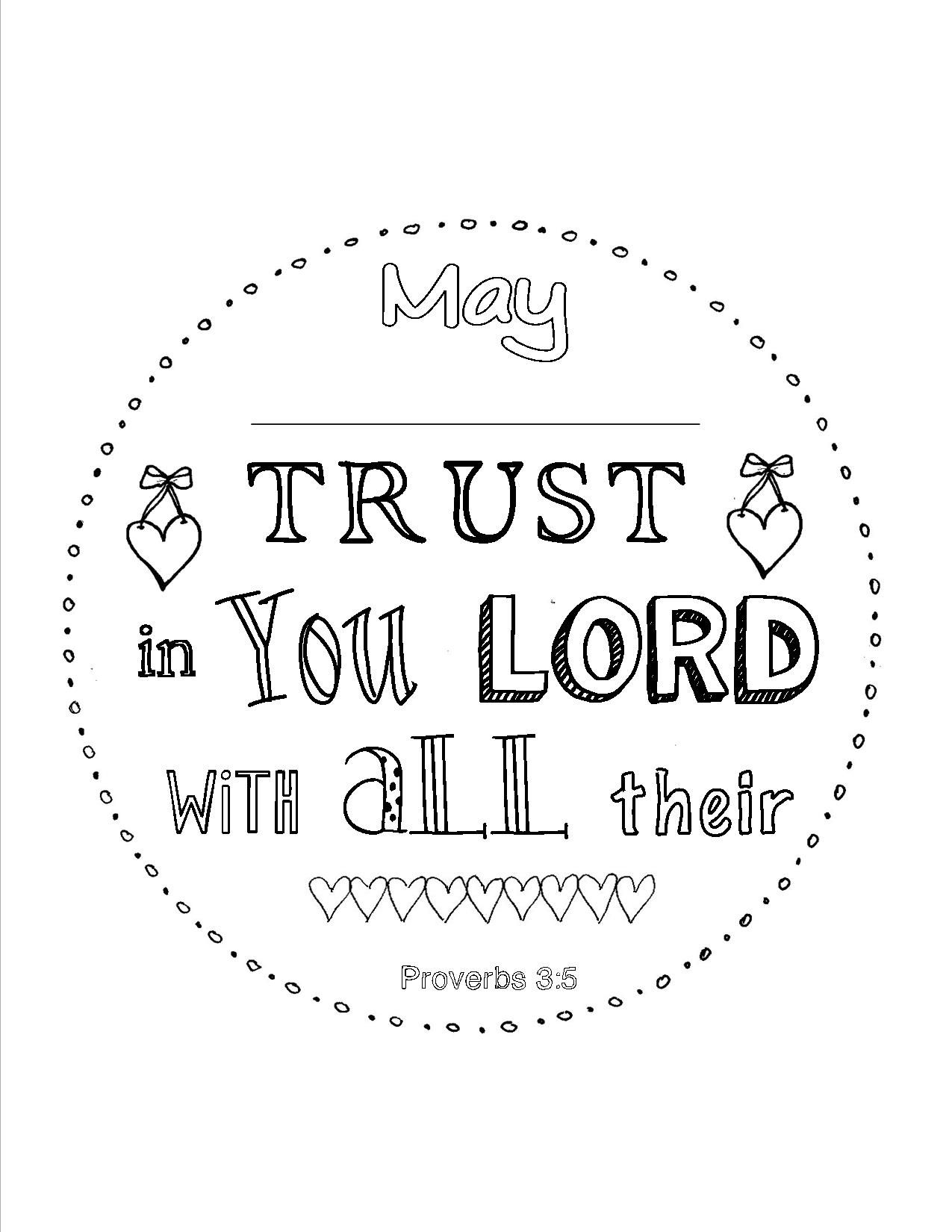 Proverbs 3 5 Personalized Scripture Coloring Page