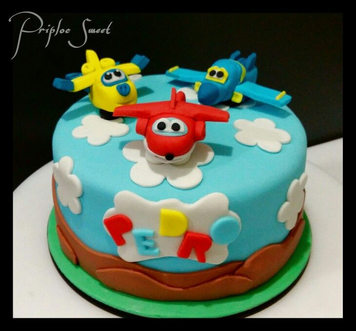 Bolo Super Wings Airplane birthday cakes Baby birthday