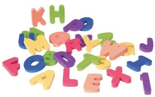 Shapes For The Tub - ABC & 123 by Alex. $11.99. 6.25 x 6.25 x 8.75(round). Soft foam shapes stick to the tub or tile when wet! Includes 2 multicolored sets of alphabet letters and numbers 0-9. 62 pieces in all!