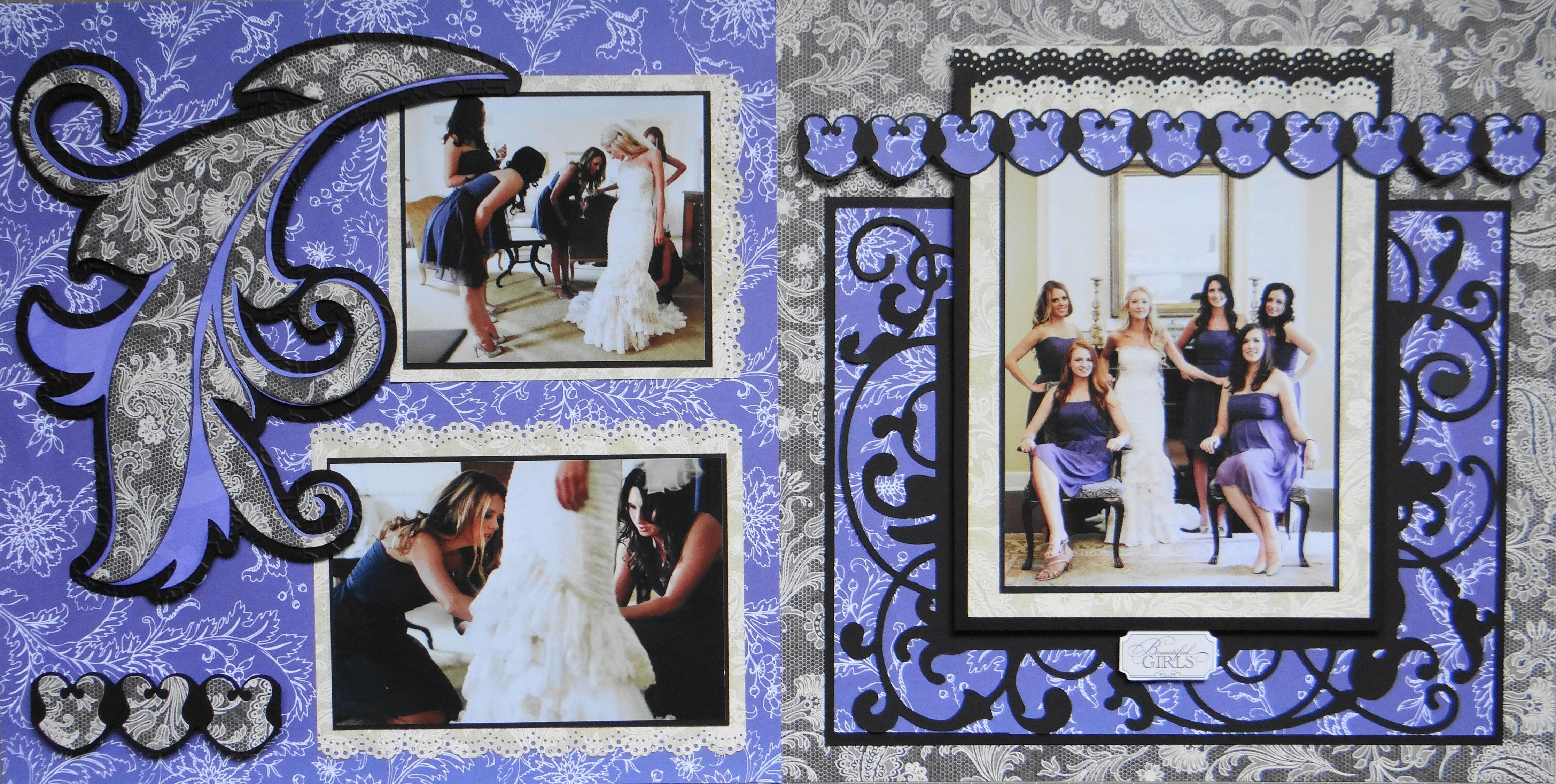 Wedding scrapbook ideas using cricut - Wedding Scrapbook Page The Bride Bridesmaids 2 Page Wedding Layout With A Feather