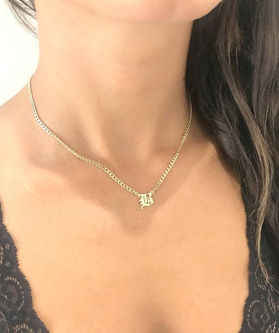 Old English Initial Necklace   Dainty initial Necklace   Curb