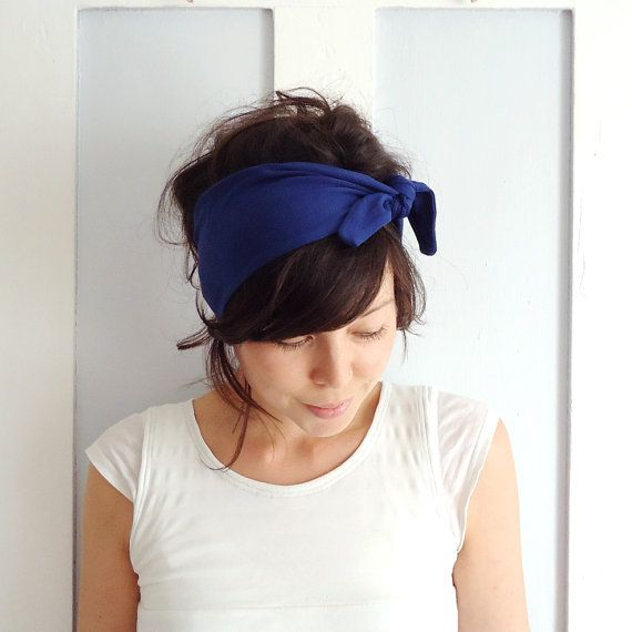 Tie Up Headscarf Electric Blue by ChiChiDee on Etsy, £12.00