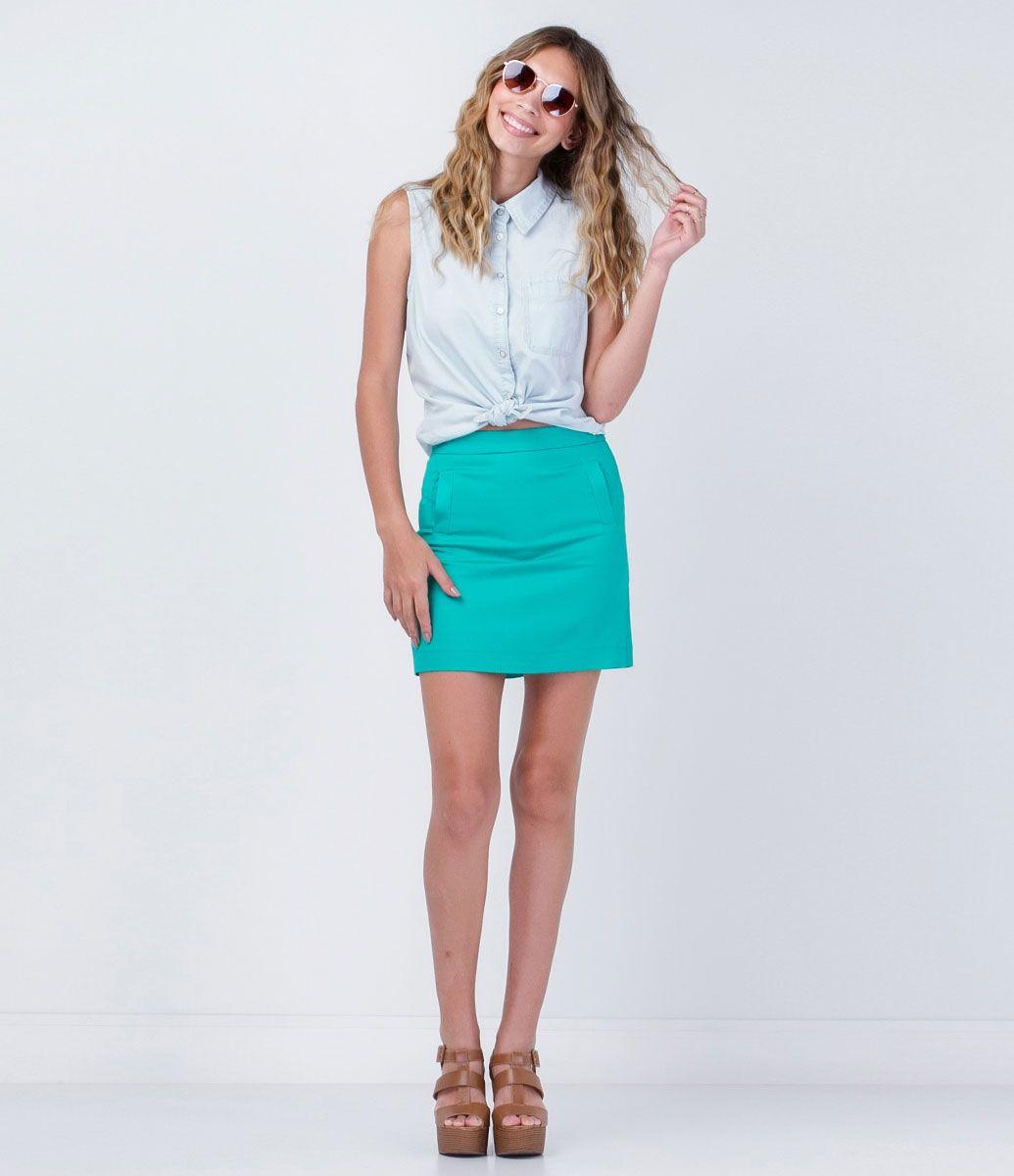 Saia feminina  Modelo mini  Cotton  Marca: Blue Steel  Tecido: Algodão com elastano  Composição: 98% Algodão; 2% Elastano  Modelo veste tamanho: P       Medidas da Modelo:   Altura: 1,75  Busto: 81  Cintura: 64  Quadril: 91     COLEÇÃO VERÃO 2016     Veja outras opçoes de    saias femininas.