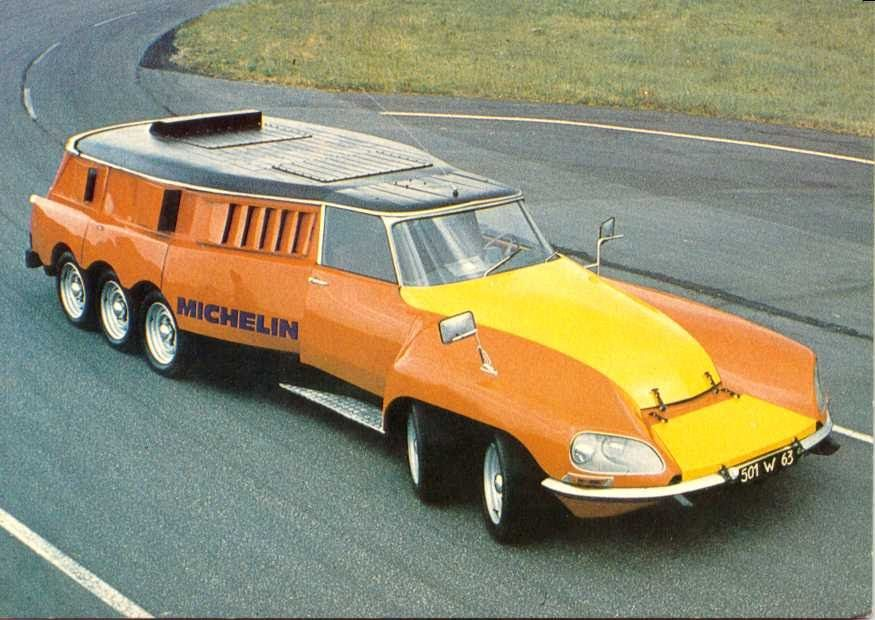 """This isCitroen DS, passed through heavy modification to be able to test tires. It is made byMichelinin1972and weighs more than ten metric tons.  bit freaky car (or whatever it is) holds also two small-blockChevy V-8 engines(350 cubic inches), one to power the rear six wheels and another to spin the tire testing machine mentioned above. PLR is steered by all four front wheels and reaches nearly180 km/hAnd absolutely deserves its nickname -""""mille-pates"""", orcentipede."""