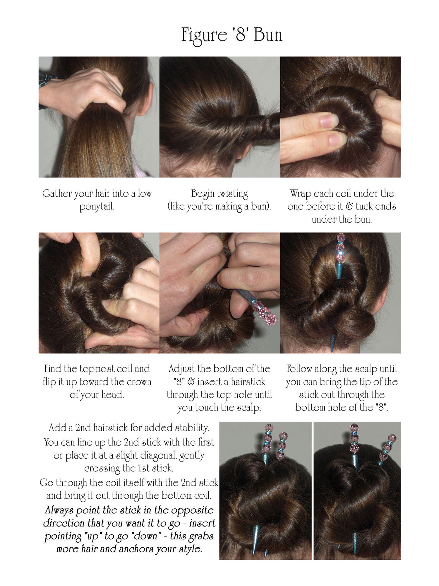figure 8 hair stick bun | hairstyles in 2019 | hair sticks