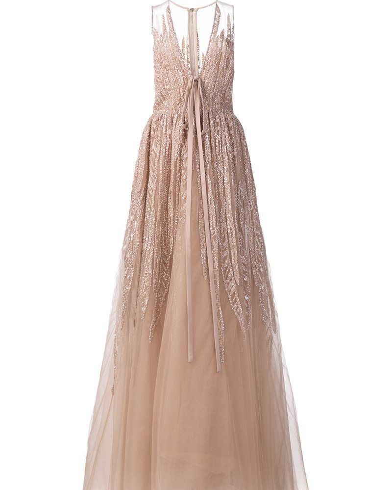 Elie saab sequin embroidery long dress womenus size nude