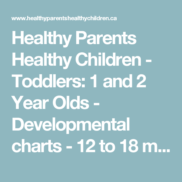 Healthy Parents Healthy Children - Toddlers: 1 and 2 Year Olds - Developmental charts - 12 to 18 months - Healthy Parents Healthy Children