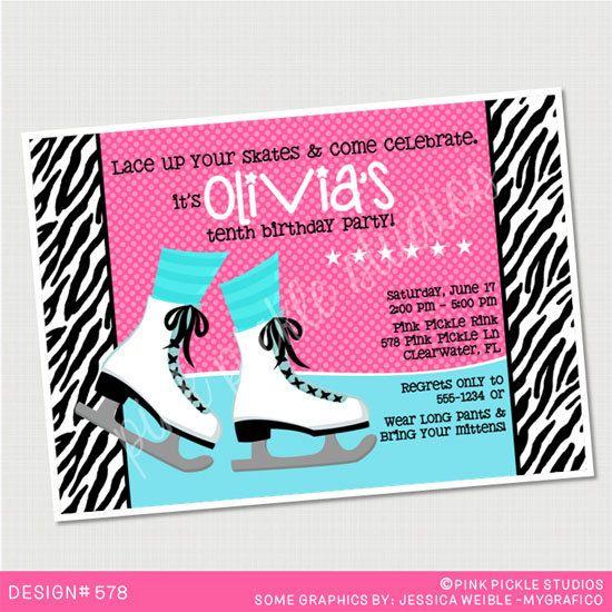 Pink & Zebra Print Ice Skating Birthday Invitation Or