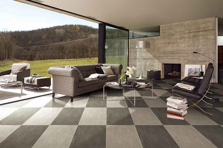 Chequered Patterned Ultra Thin Porcelain Floor Tiles Used In This Stylish  And Contemporary Living Room. #living #room #floor #tiles