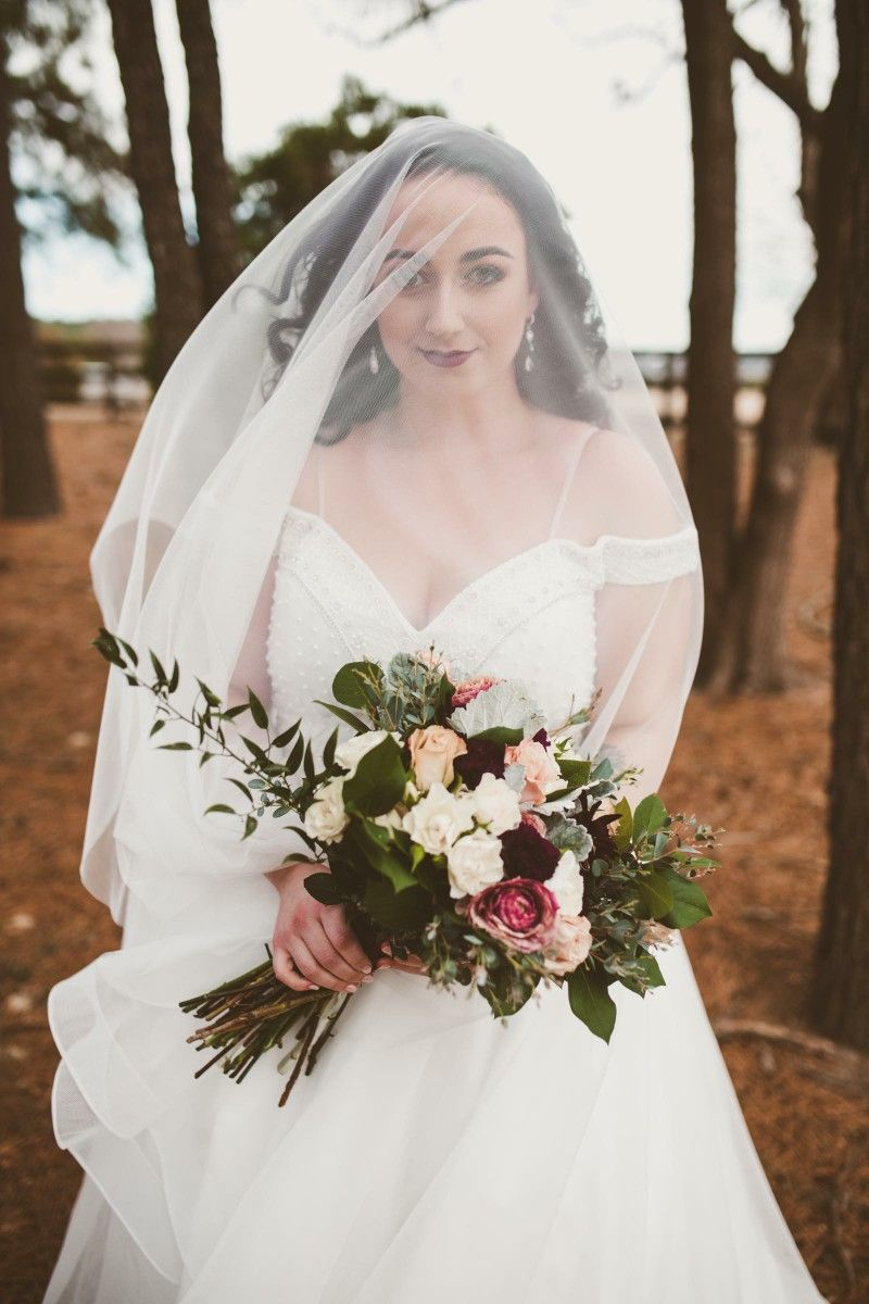 Bride Bridal Portrait Winter Wind Veil White Ivory Wedding Dress
