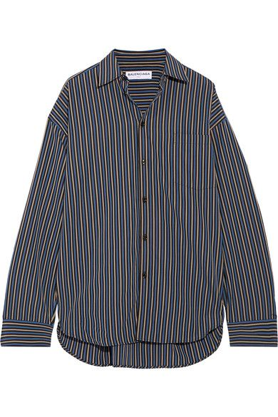 Oversized Paneled Cotton-poplin Shirt - Navy Balenciaga Outlet 2018 nfSTY