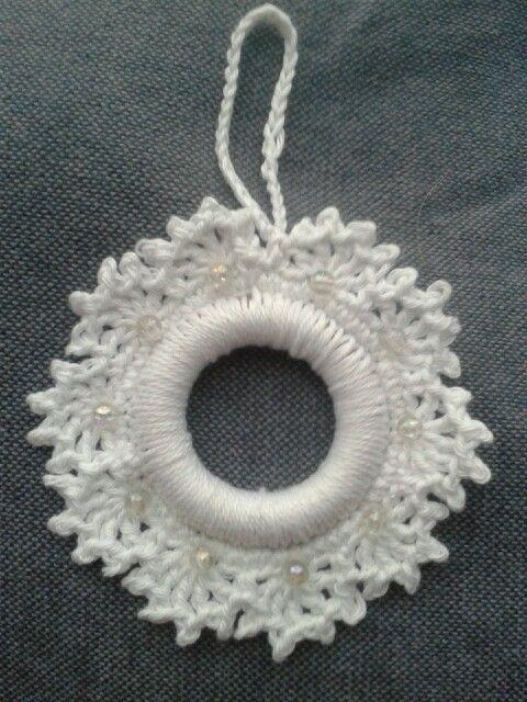 Sneeuwvlok Kersthanger Haken Crochet Sbowflake Around Ring