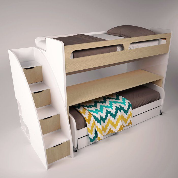 Gautreau Twin Bunk Bed Over Full Xl Sofa Bed Table And Trundle