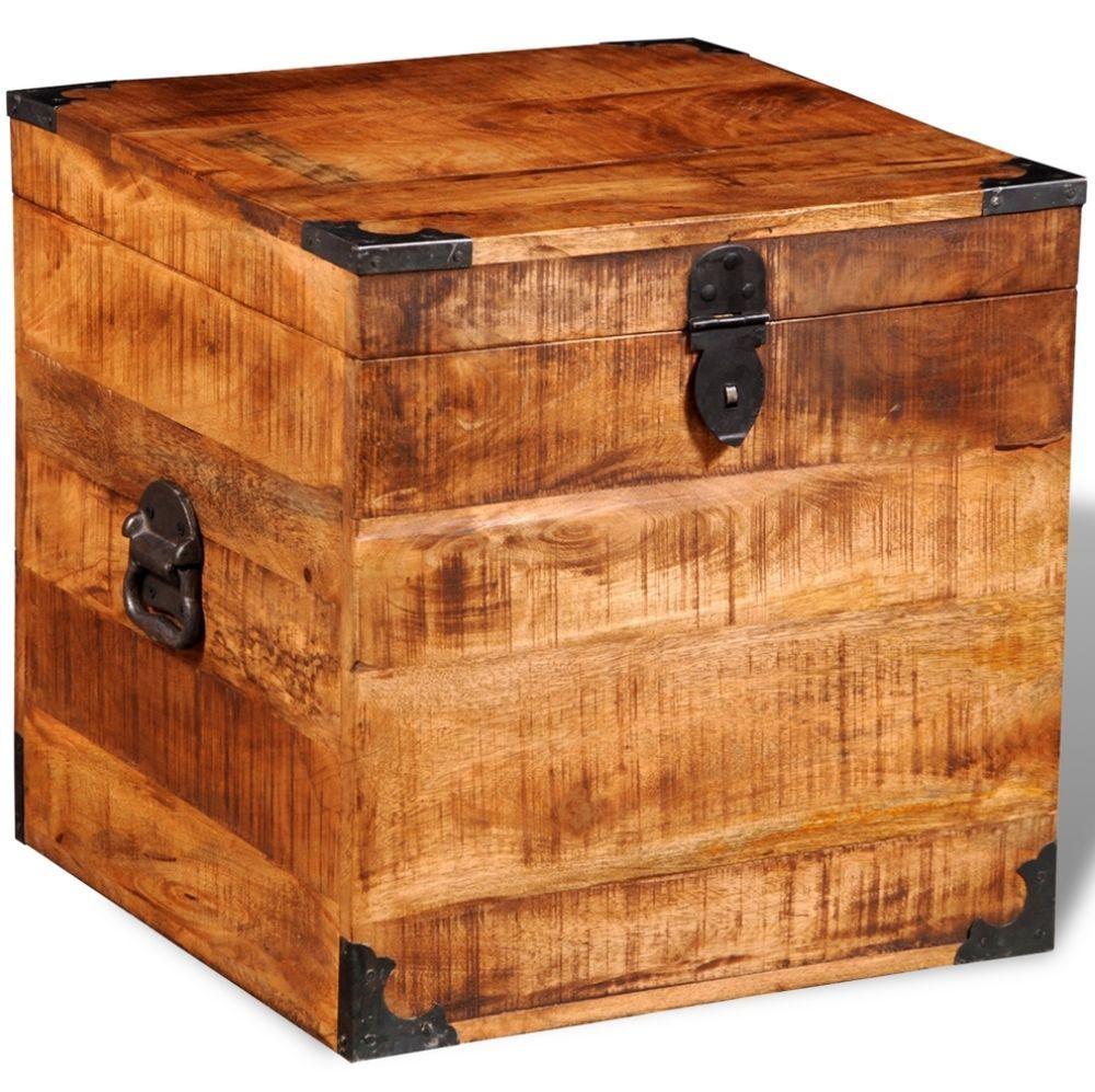 Wooden Chest Storage Box Vintage Antique Style Handmade Solid Wood
