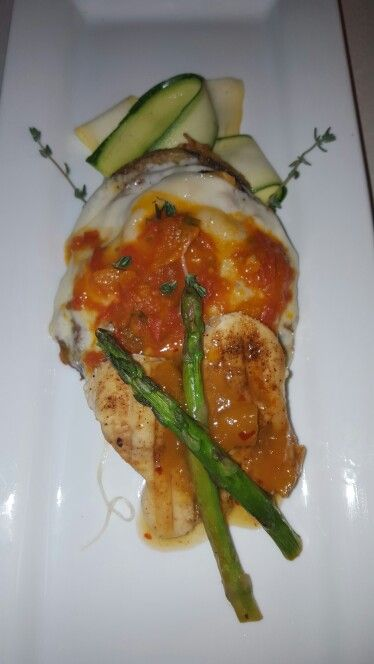 Citrus chicken with thousand leaved  eggplant... in Venecia provolone sauce