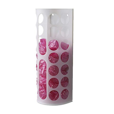 To manage all of the grocery bags you plan to reuse, IKEA sells a dispenser that hangs on the wall. $2; ikea.com